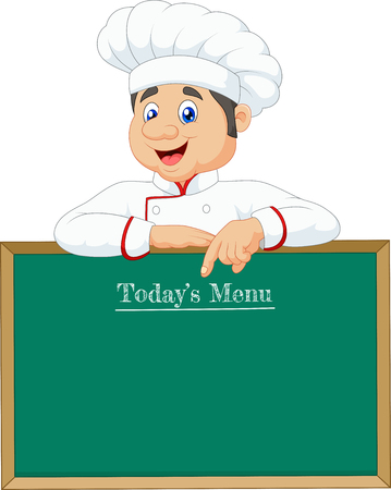 little chef: Vector illustration of Little chef pointing at a banner or menu