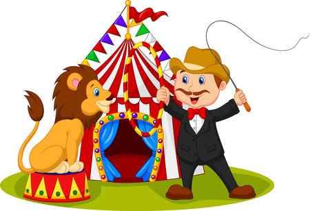 Vector illustratie van Cartoon leeuw zitten met circustent achtergrond