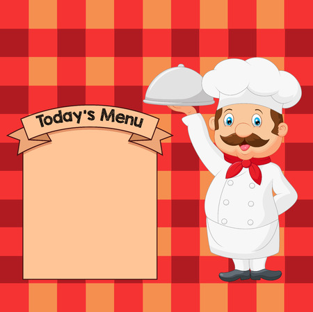 Vector illustration of Cartoon Chef Serving Food In A Sliver Platter