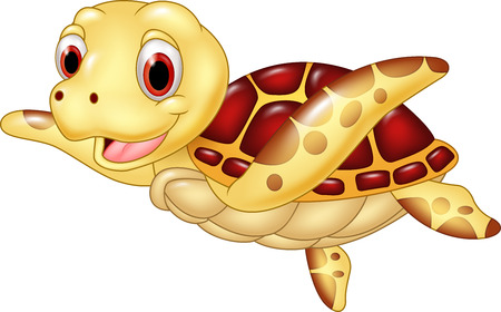 Vector illustration of Cartoon funny turtle isolated on white background Vettoriali