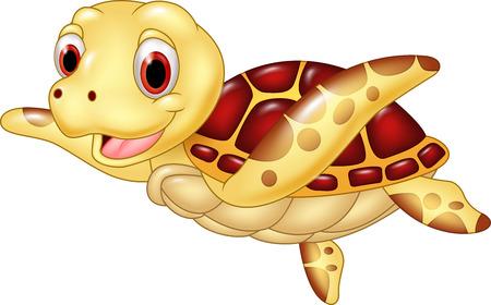 tortuga caricatura: Ilustraci�n vectorial de tortuga divertida de la historieta aislado en el fondo blanco Vectores