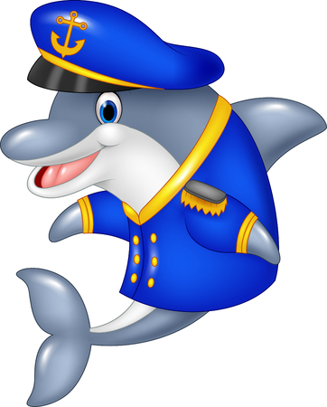 Vector illustration of Cartoon funny dolphin wearing captain uniform