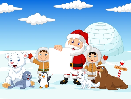 igloo: Vector illustration of Santa Claus holding blank sign with friends Illustration