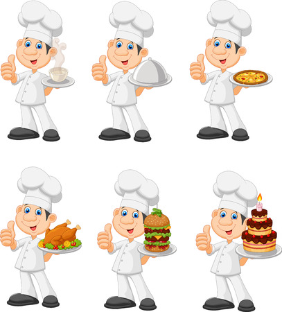 fine dining: Vector illustration of Cartoon chef collection set isolated on white background