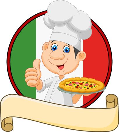 chef italiano: Ilustración del vector del cocinero de la historieta que sostiene una pizza y dando un pulgar hacia arriba