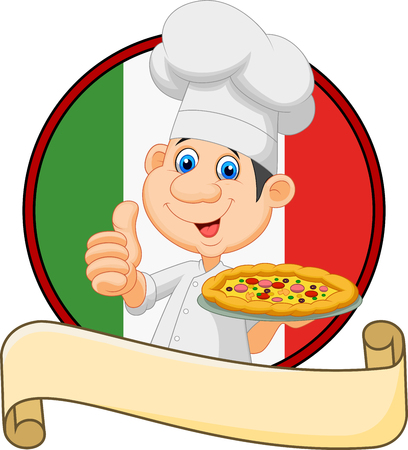 Vector illustration of Cartoon chef holding a pizza and giving a thumbs up