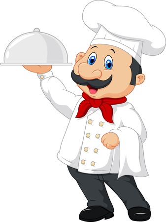 chefs: Vector illustration of Cartoon happy chef holding a silver platter