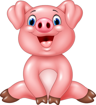 plump: Vector illustration of Cartoon adorable baby pig isolated on white background Illustration