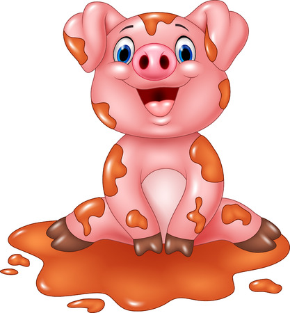 young pig: Vector illustration of Cartoon pig play in a mud puddle