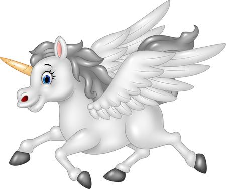 pegaso: Ilustraci�n del vector de Pegasus de dibujos animados aislado en el fondo blanco Vectores