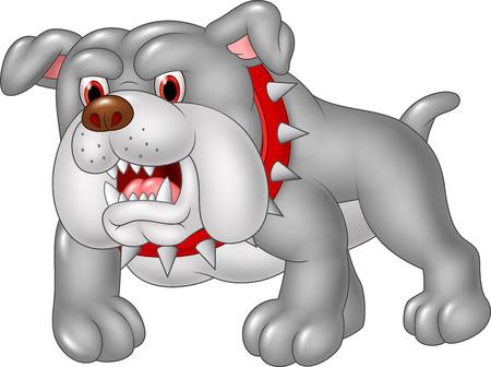 perro furioso: Ilustraci�n del vector de la historieta de bulldog enojado aislado en el fondo blanco