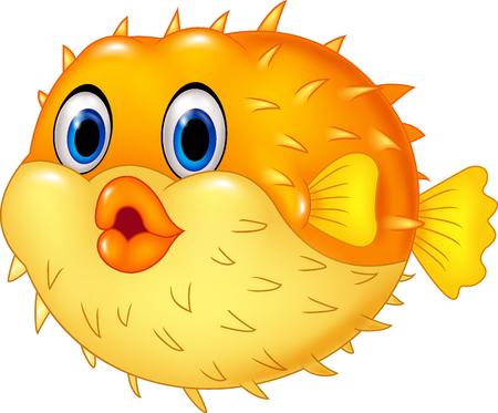 peces caricatura: Ilustración vectorial de pez globo de dibujos animados aislado en el fondo blanco