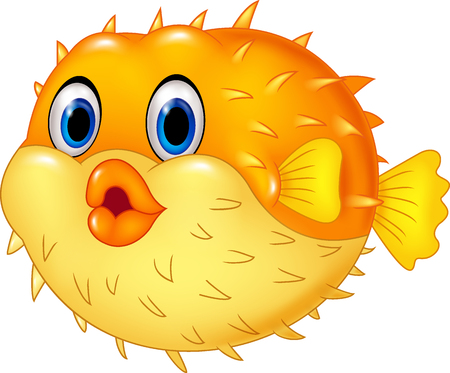 Vektorové ilustrace Cartoon Puffer ryby izolovaných na bílém pozadí