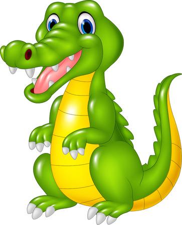 cartoon crocodile: Vector illustration of Cartoon cute crocodile on white background