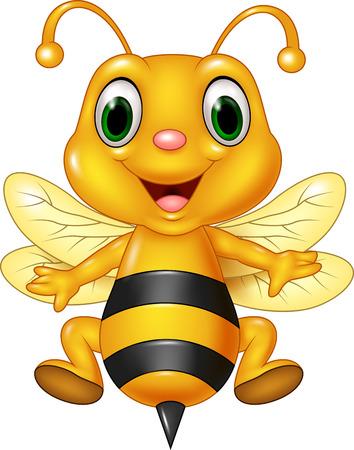 abeja reina: Ilustración vectorial de dibujos animados volando de abeja divertido. aislado en el fondo blanco