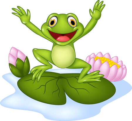 Vector illustration of a cartoon frog jumping on a waterlily Фото со стока - 48053092