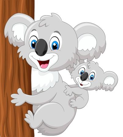 koala: Ilustración vectorial de dibujos animados de koala bebé en la espalda que sostiene el árbol de la madre Vectores