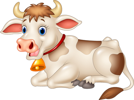 Cartoon vector illustration of funny cow sitting isolated on white background Vettoriali
