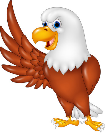 Vector illustration of Cartoon eagle waving isolated on white background Illustration