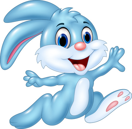 Cartoon vector illustration of happy bunny running isolated on white background