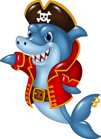 Vector illustration of Cartoon pirate shark presenting isolated on white background