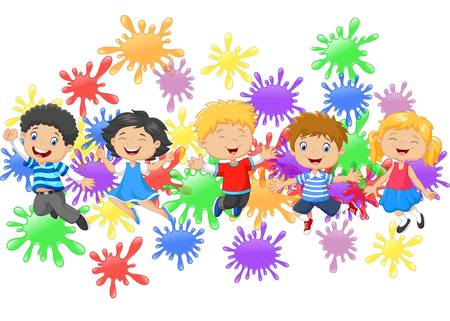 cartoon kids: Cartoon vector illustration of little kids jumping together with collection of paint splash