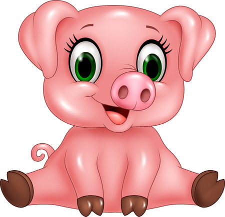 Vector illustration of Cartoon adorable baby pig. Islated on white background