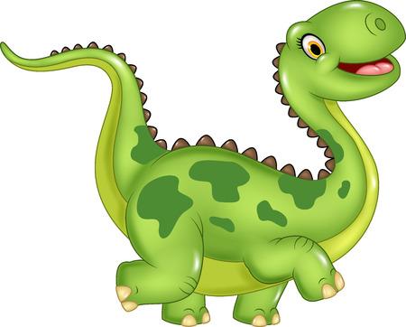 Vector illustration of funny cartoon dinosaur. Isolated on white background