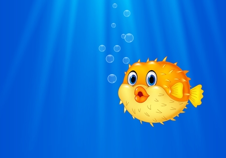 puffer: Vector illustration of Cartoon funny puffer fish swimming in the ocean Illustration
