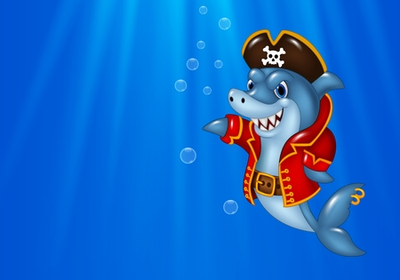 swimming costumes: Vector illustration of Cartoon shark pirate swimming in the ocean