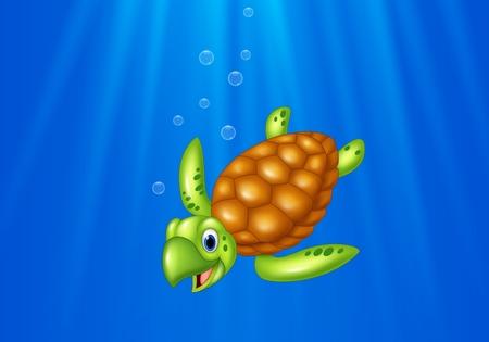 ocean and sea: Vector illustration of Cartoon sea turtle swimming in the ocean