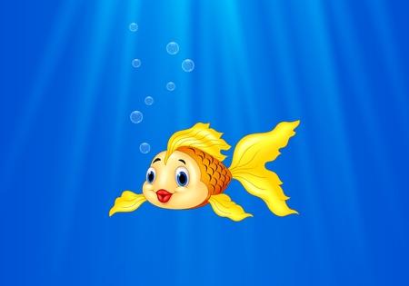 brilliant   undersea: Vector illustration of Cartoon goldfish swimming in the water Illustration