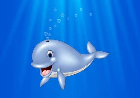 Vector illustration of Cartoon whale swimming in the ocean Vettoriali