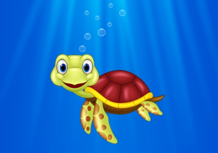Vector illustration of Cartoon sea turtle swimming in the ocean