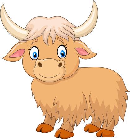 vaca: Ilustración vectorial de yak divertido de la historieta aislado en el fondo blanco