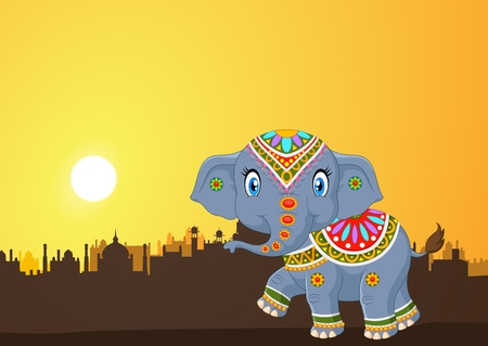 fashion story: Vector illustration of Cute elephant mascot wearing traditional costume on the sunset background