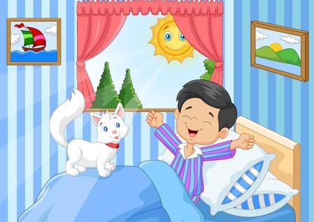 letti: Illustrazione vettoriale di Cartoon Ragazzino svegliarsi e sbadigli Vettoriali