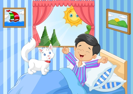 niño durmiendo: Ilustración del vector de la historieta del niño pequeño que despierta y que bosteza