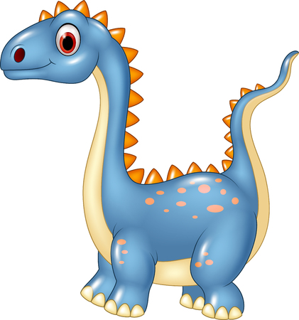 blue dragon: Vector illustration of Cartoon cute dinosaur isolated on white background