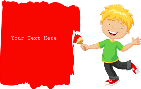 painting on the wall: Vector illustration of Cartoon little boy painting the wall with red color Illustration