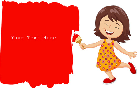 painter girl: Vector illustration of Cartoon little girl painting the wall with red color Illustration