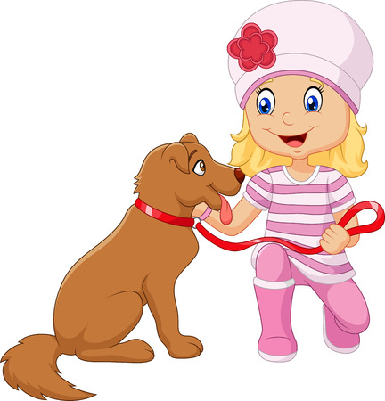 cartoon little girl: Vector illustration of Cartoon girl with her dog isolated on white background