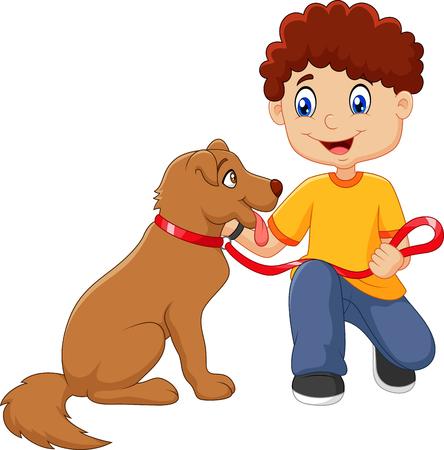 Illustrazione vettoriale di cartone animato ragazzo con il suo cane isolato su sfondo bianco Archivio Fotografico - 48410034