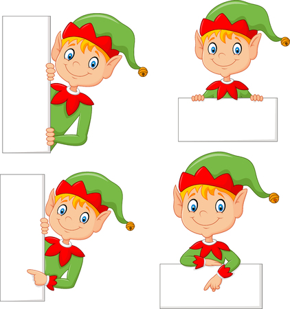 christmas costume: Vector illustration of Cartoon cute elf with blank Illustration