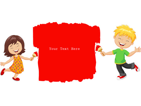 kids painting: Vector illustration of Cartoon little kids painting the wall with red color