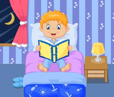 lectura: ilustración vectorial de dibujos animados niño lttle de leer la historia de tiempo de cama