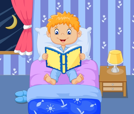 child bedroom: Vector illustration of Cartoon lttle boy reading bed time story
