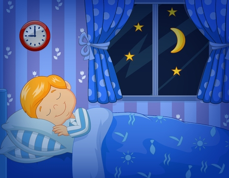 durmiendo: Ilustración vectorial de niño de la historieta que duerme en la cama Vectores