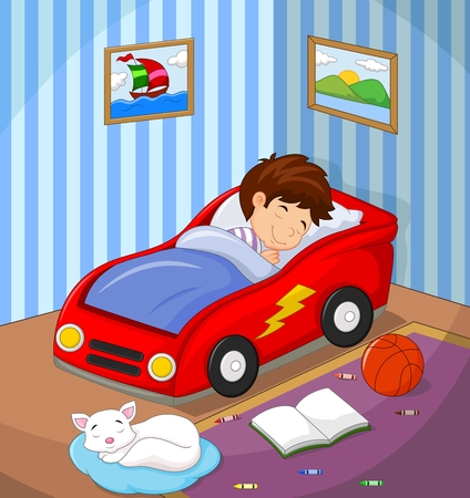 cute cartoon boy: Vector illustration of The boy was asleep in the car bed