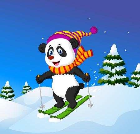 slope: Vector illustration of Cartoon panda skiing down a mountain slope
